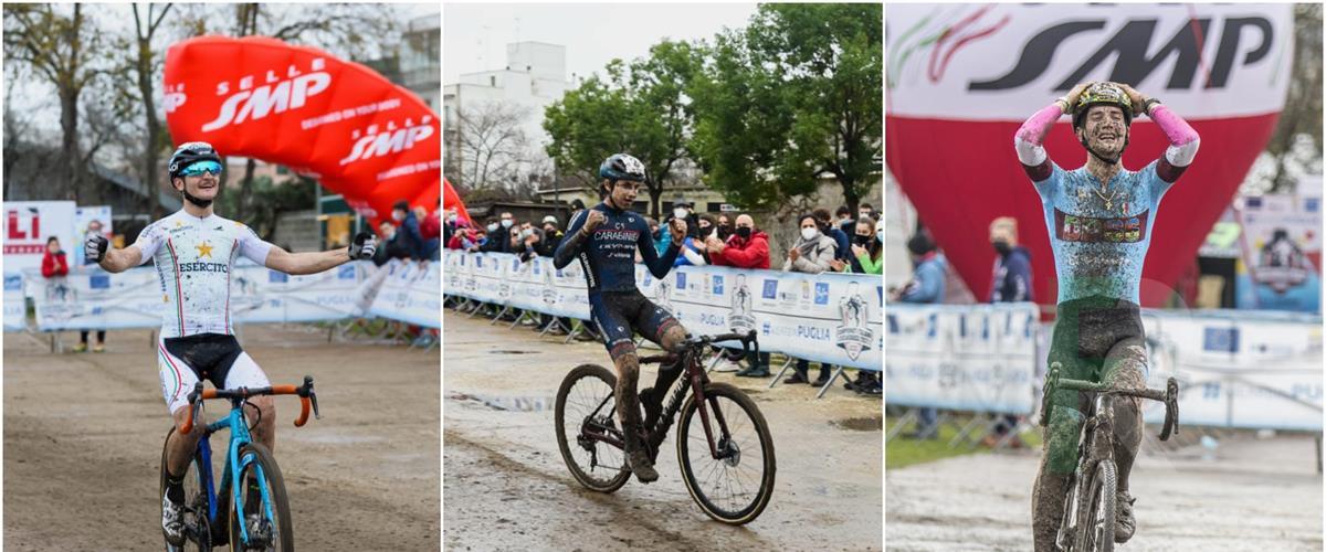 Tricolori Ciclocross Lecce 10012021 Arrivi Bertolini Fontana Olivo